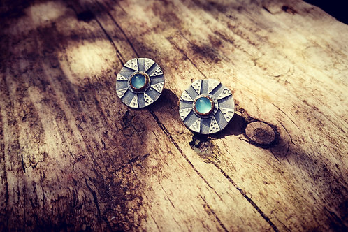 Oxidised sterling silver, gold & Chalcedony studs
