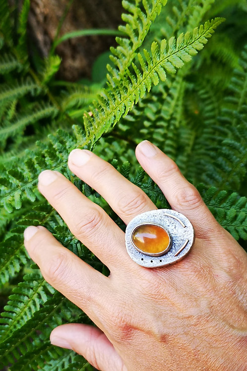 Hollow form Indonesian Amber Ring