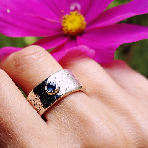 Silver Gold and Sapphire Ring