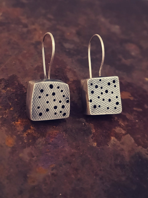 Sterling silver hollow form cube earrings