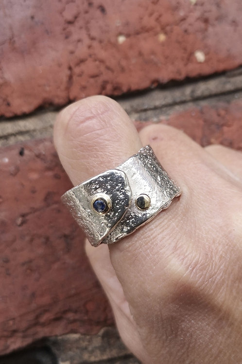 Chunky Silver, Gold and Sapphire Ring