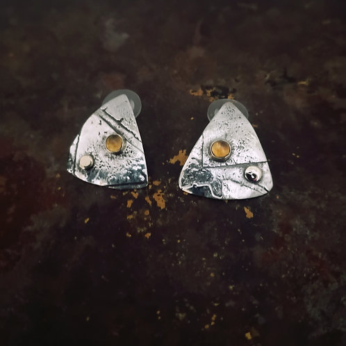 Sterling Silver, Gold and Citrine Studs