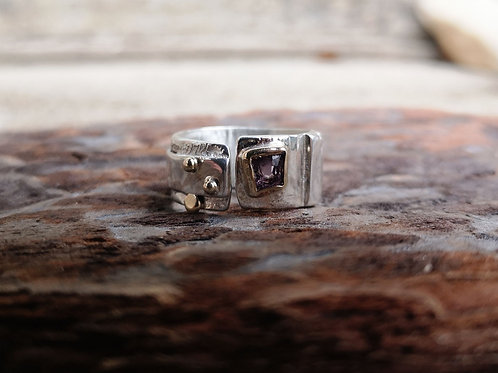 Silver, Gold & Pink Spinel Ring