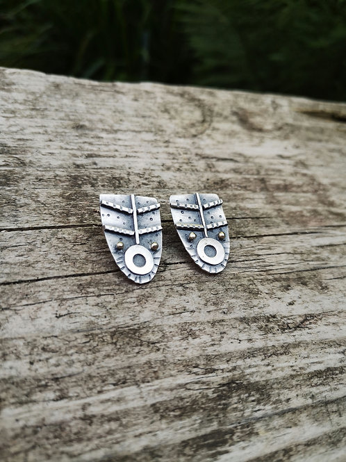 Abstract silver and gold  tribal shield  studs