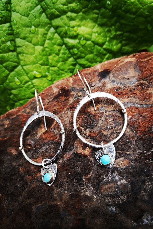 Large silver, gold and turquoise Earrings