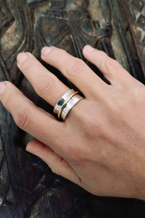 Sterling Silver & Gold Spinning Ring