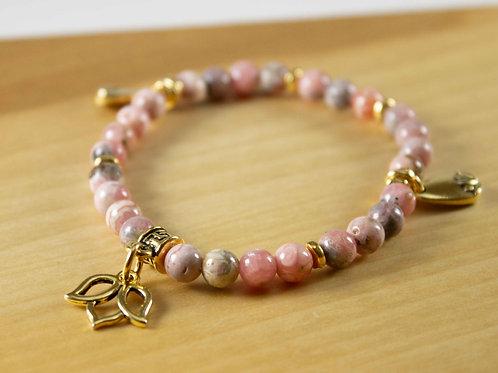 Rhodochrosite Lotus Charm Bracelet