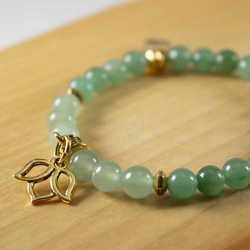 Green Aventurine Lotus Charm Bracelet