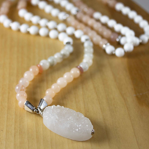 Pink Aventurine and White Jade Mala