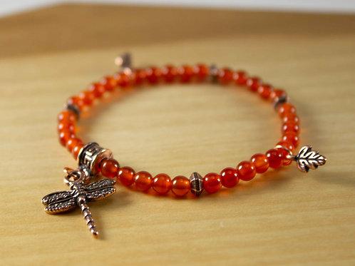 Carnelian Dragonfly Charm Bracelet