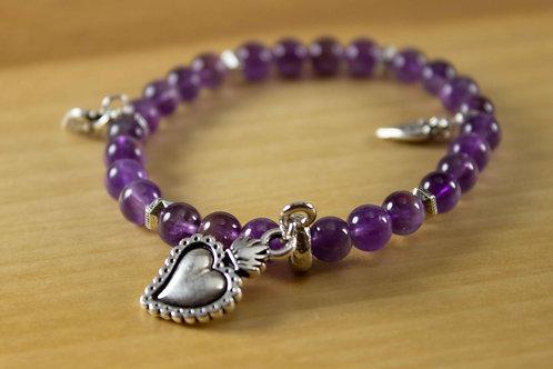 Amethyst Milagro Heart Bracelet