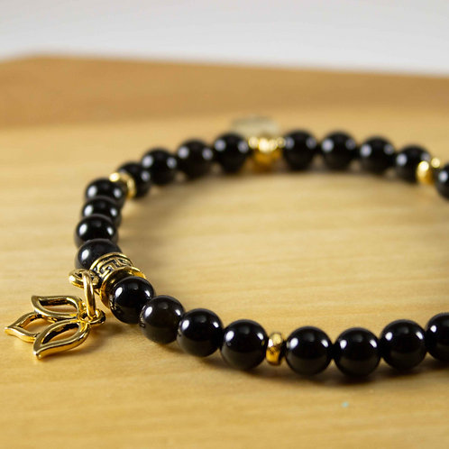 Black Onyx and Lotus Charm Bracelet