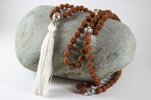 HAND-KNOTTED MALA BEADS Quartz and Rudraksha