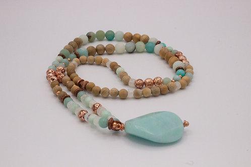 Amazonite and Moonstone Mala Necklace