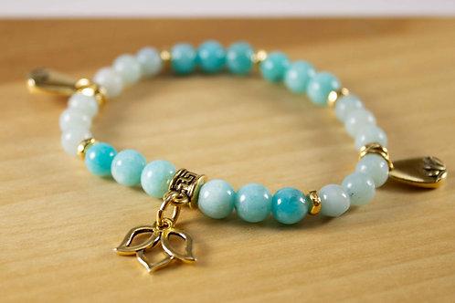 Amazonite Lotus Charm Bracelet