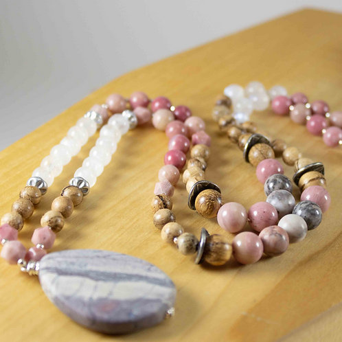 Jasper, Moonstone and Rhodonite Mala