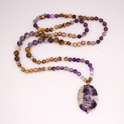 Amethyst and Moonstone Mala Necklace
