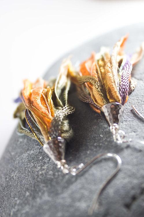 Golden Watercolor Tassel Earrings