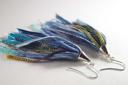 Blue Watercolor Tassel Earrings