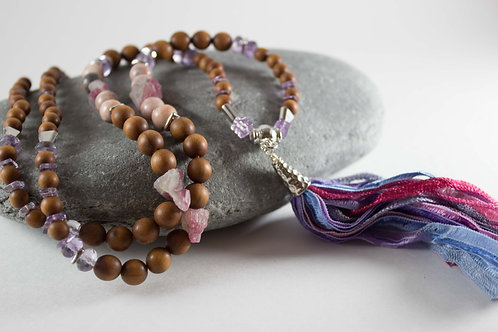 Amethyst & Sandalwood Watercolour Mala