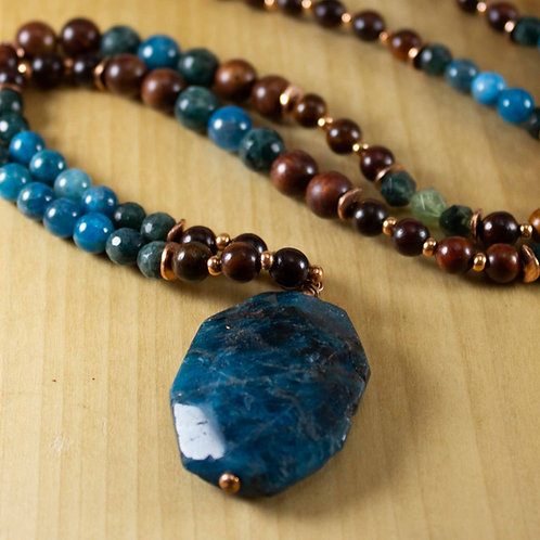Blue Apatite and Mahogony Mala