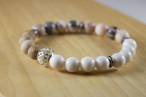 Rose Jasper & White Jade Bracelet