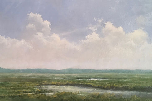 atmospheric clouds landscape oil painting