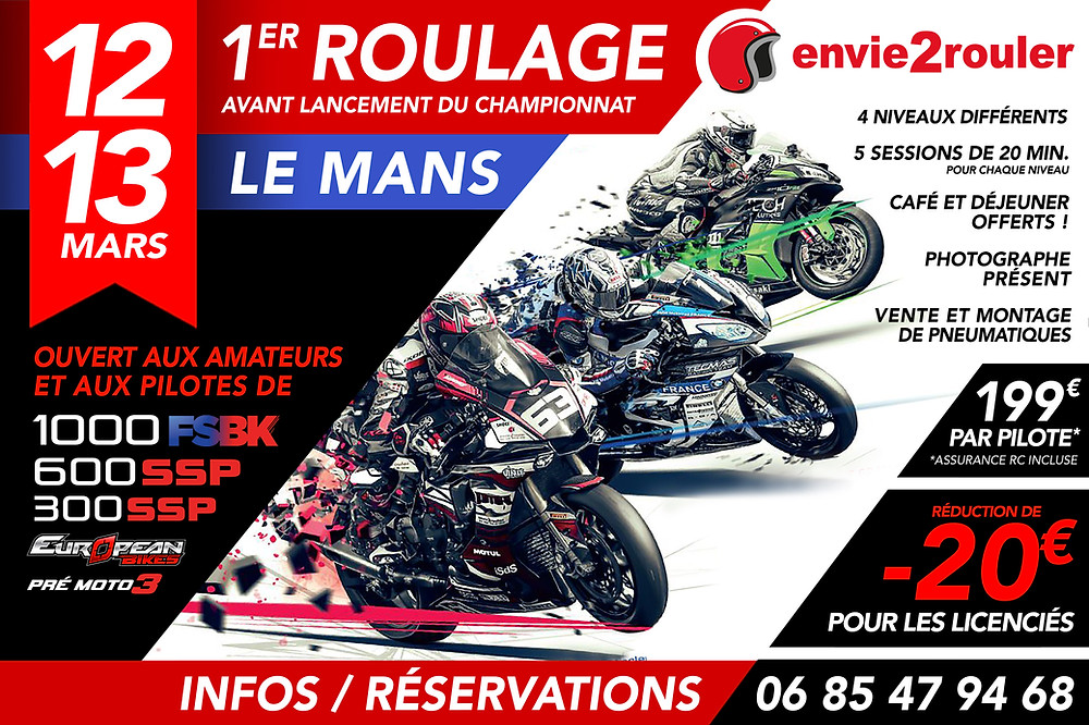 Flyer Track Day envie2rouler Le Mans 12 et 13 Mars 2020 red and black motorcycle