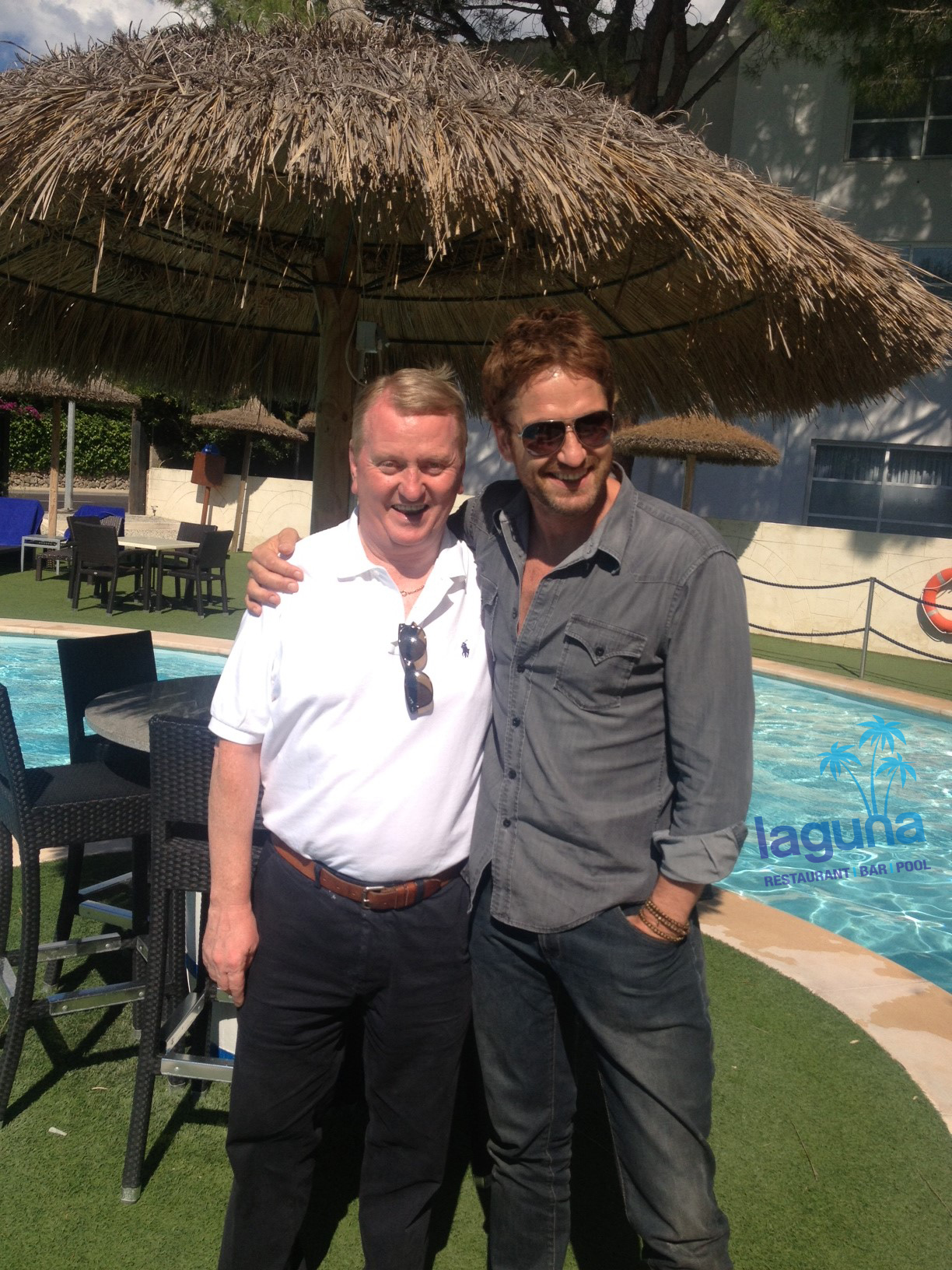 Gerard Butler in Laguna Puerto Pollensa with Jim McSorley