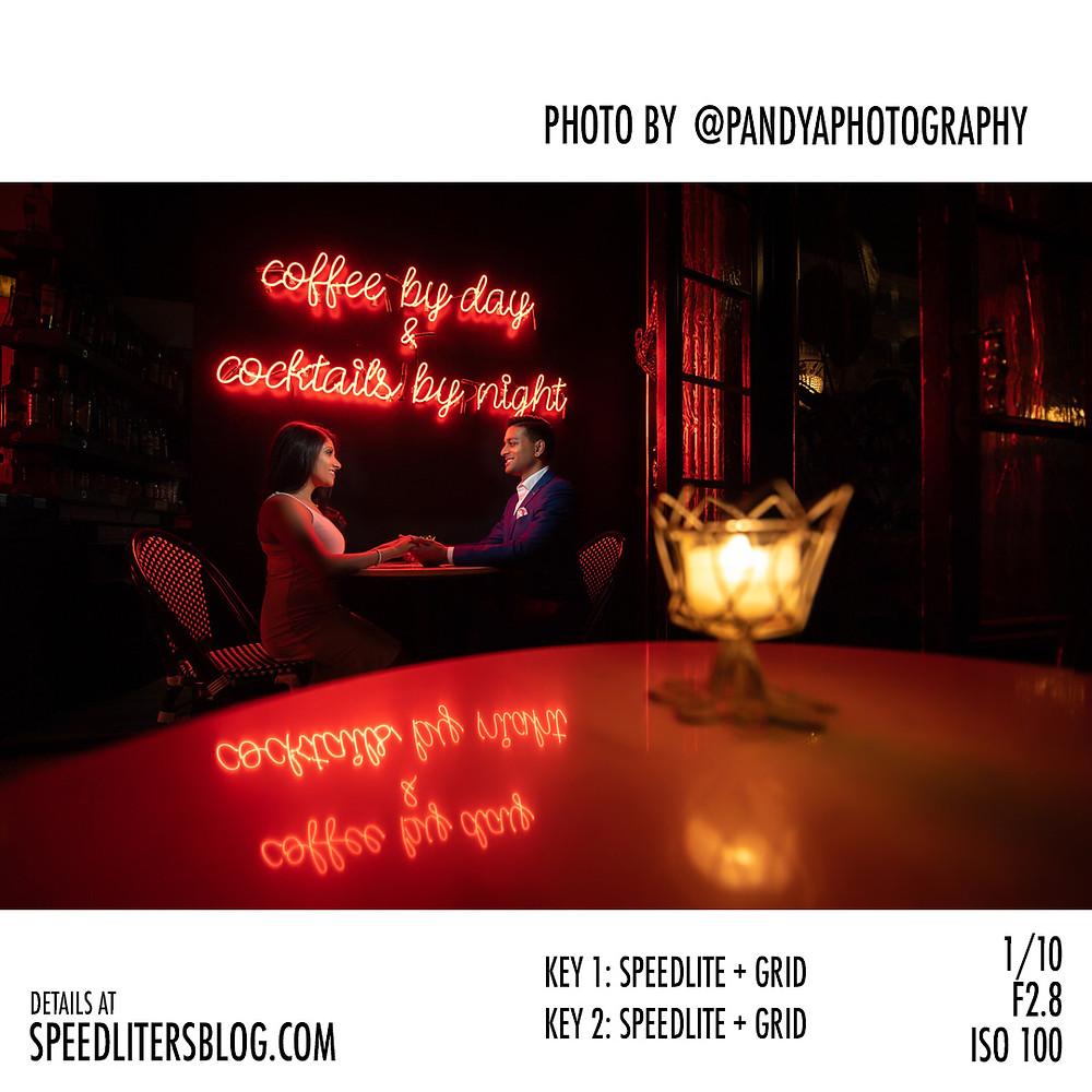 Speedliter's Blog features Stylized Engagement Photos by Abhi Pandya Photography using Nikon, Godox, Glow Softbox Off Camera Flash OCF