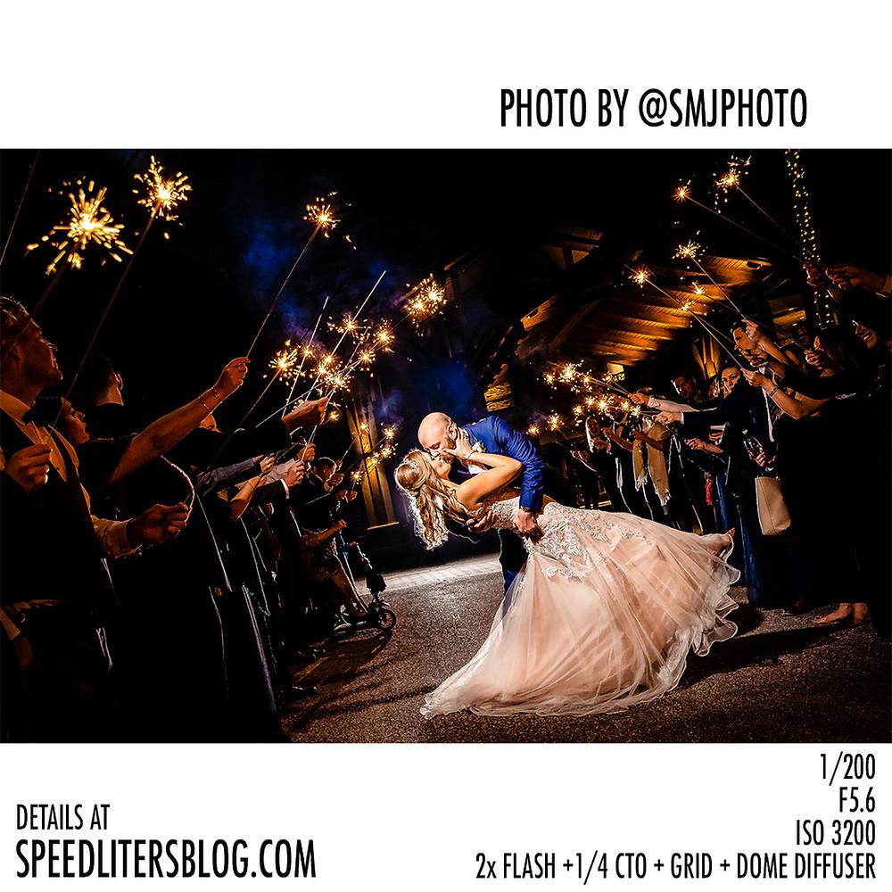 Sparkler sendoff following a wedding reception lit by two Godox AD200 strobes.
