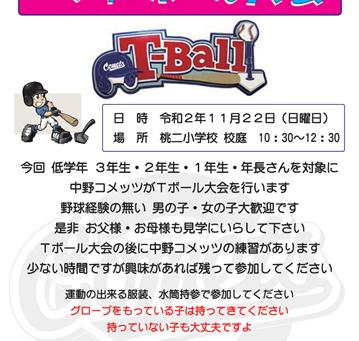 【中止】 2020年11月22日(日)T-ボール体験会開催!