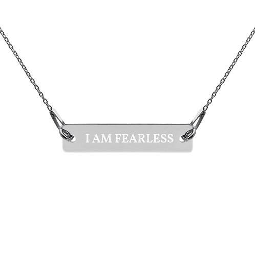 Engraved Silver Bar Chain Necklace - I AM FEARLESS