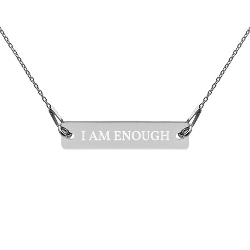 Engraved Silver Bar Chain Necklace - I AM ENOUGH
