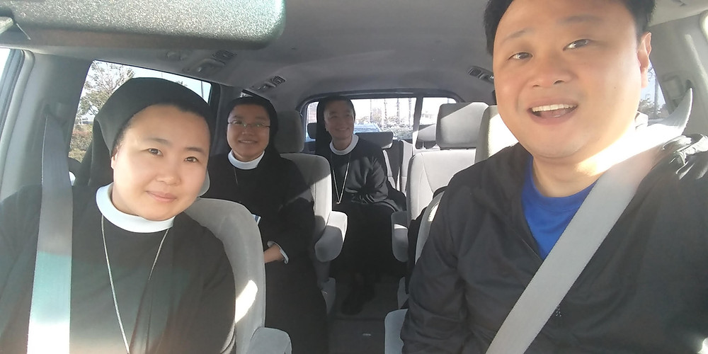 Dcn. Phil and the Sisters hosting him for his retreat
