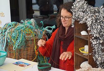 Stall Holder - basket weaving from rubbi