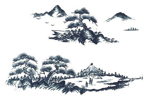 Sansui landscape tissue transfer