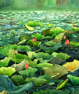WC008 H50xW40 Lotus Pond I (Sold).jpg