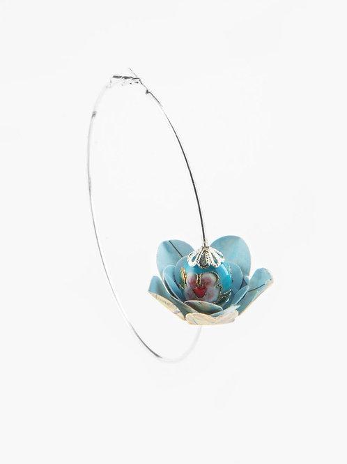 Créoles Fleur coeur bleu