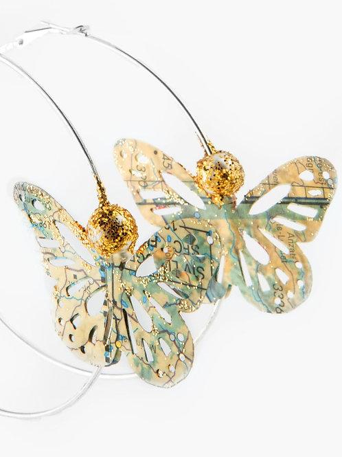 Créoles Papillon & Perle dorée