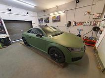 Wrapped white audi TT in matte Green