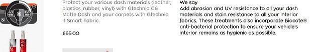 Gtechniq matte dash c6 and gtechniq smart fabric water proofer for carpets
