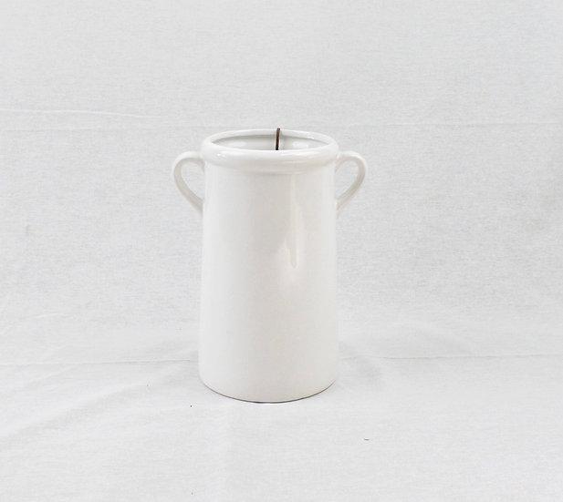 Florero blanco de cerámica