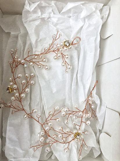 Tocado perlas y brillos opción oro rosa y plateado