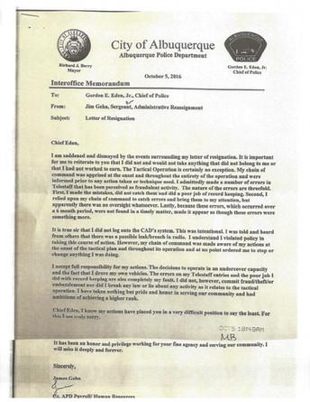 Geha's Resignation Letter