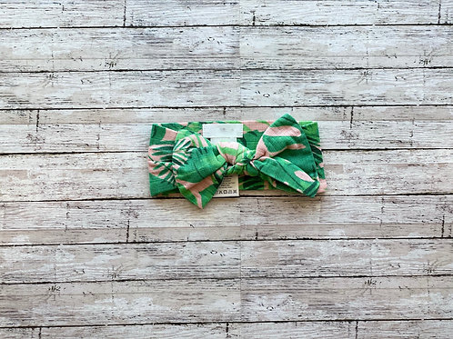 Tropical Leaves Bow Headwrap