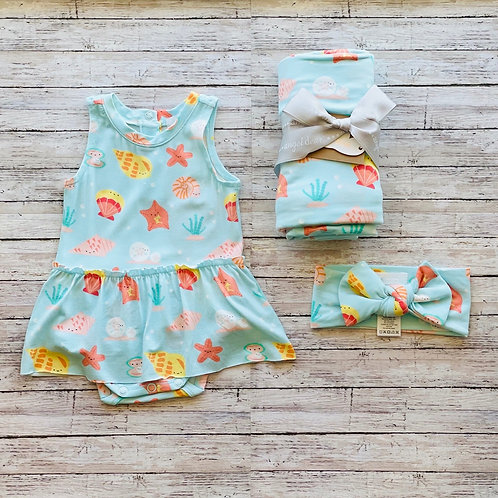 Happy Shells Skirted Bodysuit