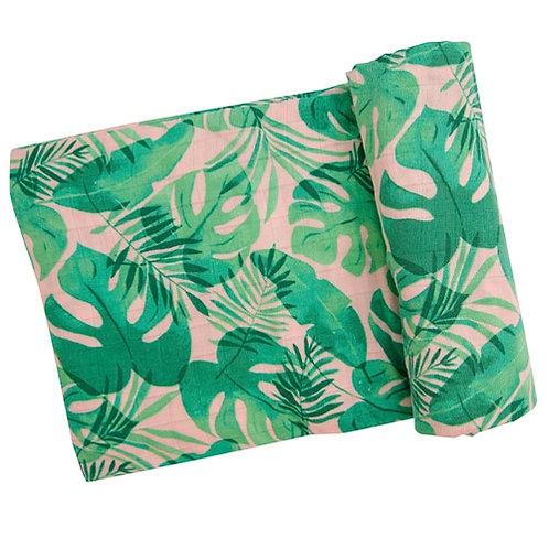 Tropical Leaves Muslin Swaddle