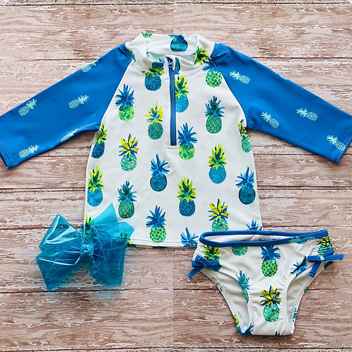 Watercolor Pineapple Rashguard Set
