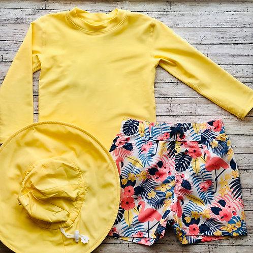 Let's Flamingle Swim Trunks